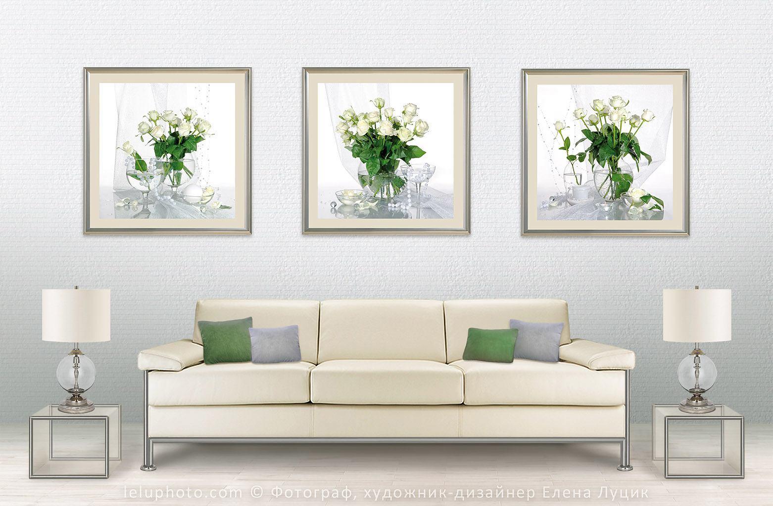 три натюрморта белые розы в интерьере