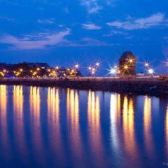море, вечер, огни, Несебр, мельница