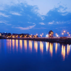 море, вечер, огни, Несебр, мост