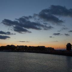 море, закат, огни, Несебр, мост
