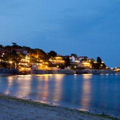 море, вечер, Несебр, город, штиль