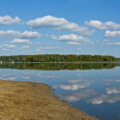 озеро, водохранилище, песок, облака