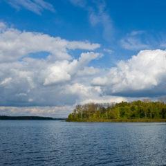 озеро, облака, лес
