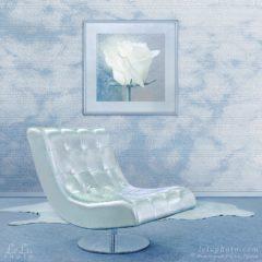 фотокартина с белой розой и фотообои с облаками