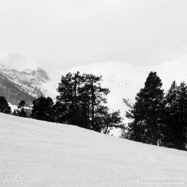 черно-белое фото, горы, графика, зима