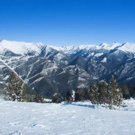 зимний пейзаж, вершины гор