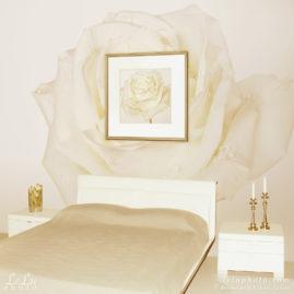фотокартина и фотообои с белой розой в интерьере
