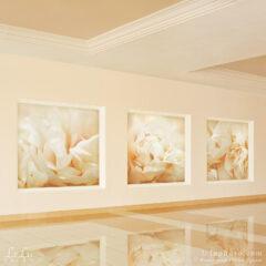 Композиция «Светло-кремовые пионы» из трех фотопанно