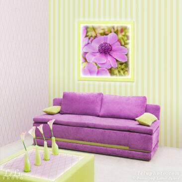 фотокартина в интерьере с цветком лилового анемона