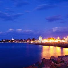 море, вечер, огни, Несебр