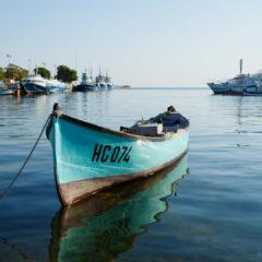 море, лодка, причал