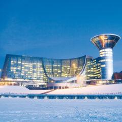 здание Дома Правительства Московской области, зима, вечер