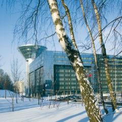 здание Дома Правительства Московской области, зима, березы
