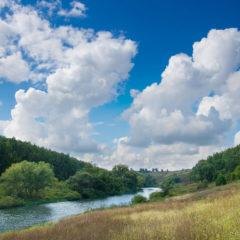 река, лес, облака, небо, пейзаж