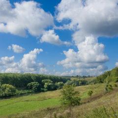 небо, облака, холмы, поля, лес, пейзаж
