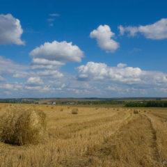 стога, поле, небо, облака