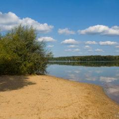 озеро, зеркало воды, облака, песок