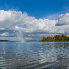 озеро, фонтан на воде