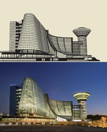 векторный рисунок здания по фото