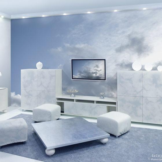 фотообои с облаками в интерьере