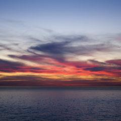 черное море, закат, вечер, красные облака
