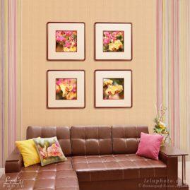 четыре картины с орхидеями в интерьере