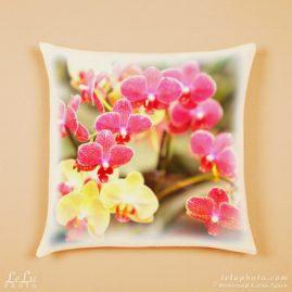 принт на подушке, орхидеи