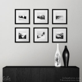 черно-белые фотокартины с горными зимними пейзажами в интерьере