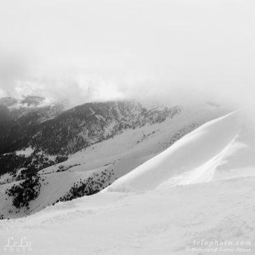 черно-белое фото, горы, природа, зима